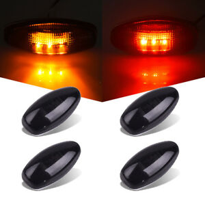 4pcs Led Smokes Amber Red Side Fender Marker Lights For 2001 2012 Chevy Gmc