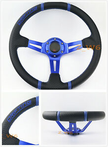 350mm Blue 3d Leather Deep Dish Racing Steering Wheel Blue Stitching Horn