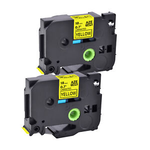 2pk Fits Brother Tz 641 Tze 641 3 4 Black On Yellow Label Tape P touch Pt2200