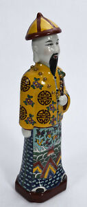 Old Chinese Polychromed Porcelain Standing Male Figure W Long Queue