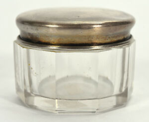 Small Antique Victorian Crystal Vanity Jar Rouge Pot W R Wallace Sterling Lid
