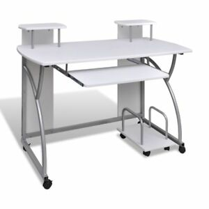Mobile Compact Corner Computer Cart Desk Laptop Table With Keyboard Tray White