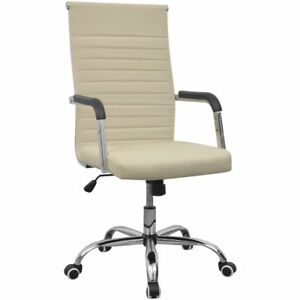 Vidaxl High Back Executive Swivel Computer Desk Pu Leather Office Chair Cream