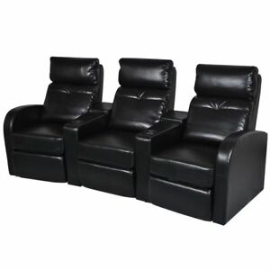 Black Artificial Leather 3 seat Home Theater Recliner Sofa Lounge W cup Holder