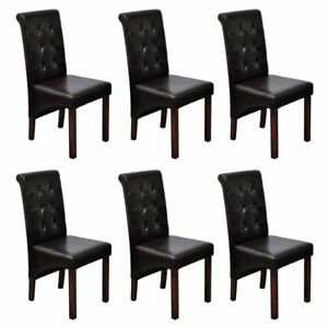 2 4 6 Brown Dining Side Chairs Tufted Scroll Back Artificial Leather Kitchen