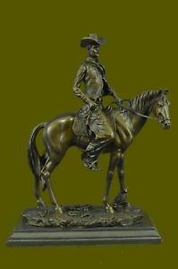 Vintage Cast Metal Bronze Copper Horse And Cowboy Trophy Arts Statue Figure Sale