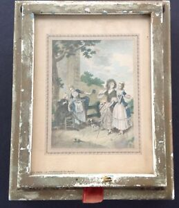 Antique Victorian Jewelry Box Glass Handcolored Print Hinged Lid Mirror