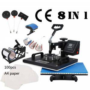 8 In 1 Digital Sublimation T shirt Mug Hat Heat Press Machine W Transfer Paper