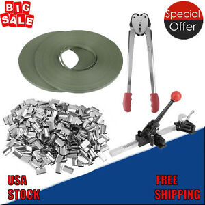 Strapping Tool Complete Kit Metal Seals Poly Strap Banding Roll Supply Set