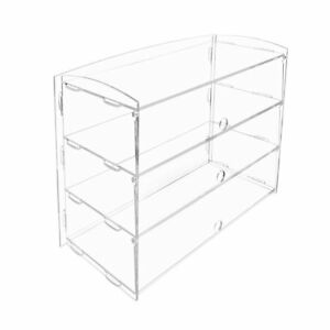 3 Tray Bakery Dessert Display Clear Case For Donut Pastry Cupcakes Coffee Shops