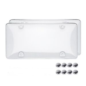 2x Clear License Plate Covers Tag Frame Bubble Shield Truck Car