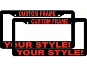 2 Custom Personalized Black With Red Letters Customized License Plate Frame