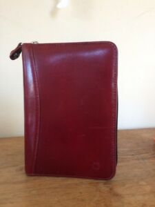 Red Leather Franklin Covey Pocket Planner Binder Organizer Zip Burgundy 1 Rings