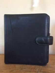 Franklin Covey Quest Classic Black Nappa Leather Planner Binder Organizer 7 ring
