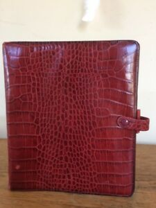 Filofax Vintage Ascot Red Leather A5 Crocodile Print Organizer Planner Usa Made