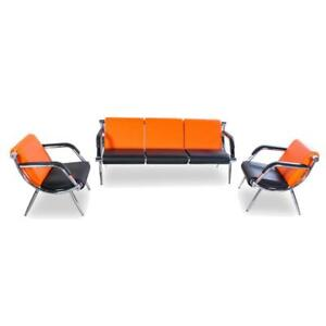 3pcs Office Reception Room Chair Pu Leather Airport Waiting Room Visitor Bench