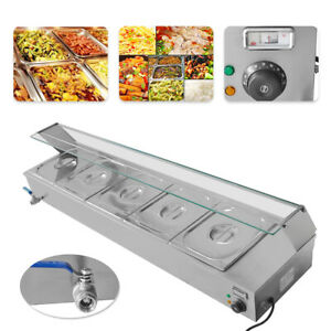 New 110v1500w 5 pan Steamer Bain marie Buffet Countertop Food Warmer Steam Table