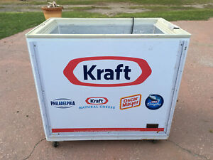 Gently Used Commercial Open Top Logo Cooler On Wheels Refrigeration Works