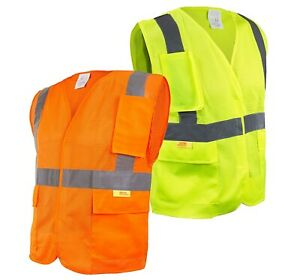 50pcs Class 2 High Visibility Safety Vest With Reflective Strips And Pockets