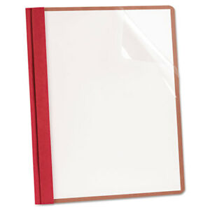 Recycled Clear Front Report Covers Letter Size Red 25 box