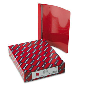 Poly Report Cover Tang Clip Letter 1 2 Capacity Clear red 25 box