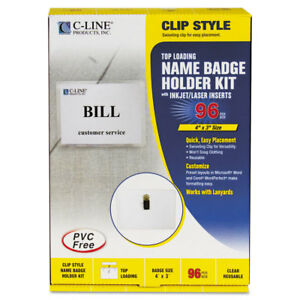 Name Badge Kits Top Load 4 X 3 White Clip Style 96 box