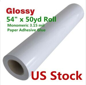 Us Stock 54 X 50yd Glossy Cold Laminator Laminating Film Paper Adhesive Glue