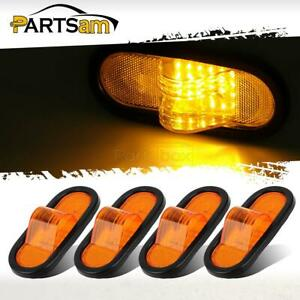 4xamber 6 Oval Truck Trailer Tail Stop Mid Turn Signal Light 24 Led W reflector