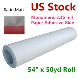 Us Stock 54 X 50yd Roll Satin Cold Laminating Film Paper Adhesive Glue