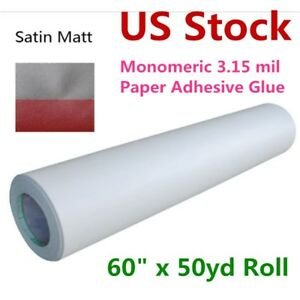 Usa 60 x50yd Satin Cold Laminating Film Monomeric 3 15 Mil paper Adhesive Glue