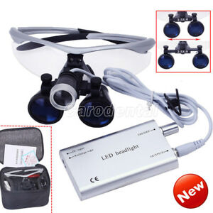 Dental 3 5x Surgical Medical Binocular Loupes With Led Head Light Lamp Silver