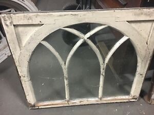 C1900 Arched Gothic Window Frame Sash Old Glass Solid 37 25 X 31 X 1 5 8