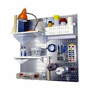 Wall Control Hobby Craft Pegboard Organizer Storage Kit Metallic white Taxfree