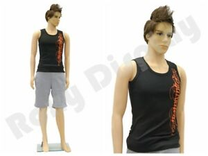 Male Flesh Tone Realistic Full Body Mannequin plastic W Base