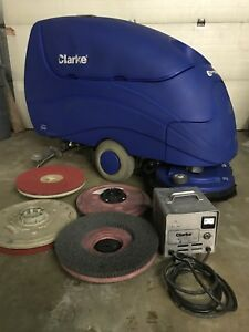 Clarke Encore 33 Floor Scrubber 80 Hours Used Batteries charger pad Drivers