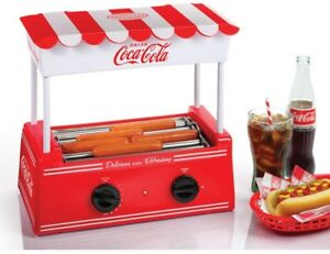 Nostalgia Coca cola Hot Dog Cooker Roller Grill Bun Warmer Countertop Machine