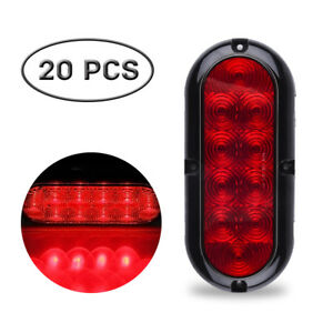 20x 6 Oval Red Stop Turn Tail Sealed Marker Light Flange Mount 10led Indicators