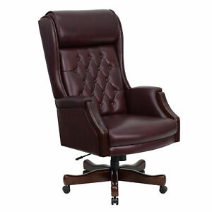 Flash Furniture Burgundy Leather Executive Swivel Office Chair Kc c696tg g