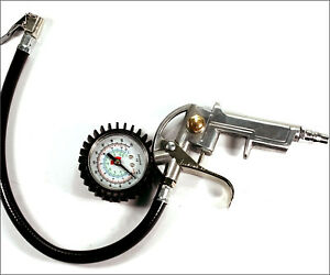 220 Psi Lock On Tire Inflator With Air Pressure Gauge Pistol Chuck Flexible Hose