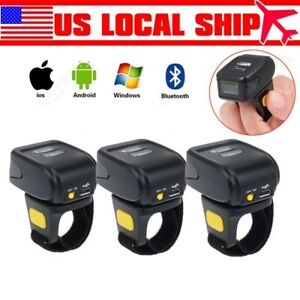 3x Mini Wireless Bluetooth Ring Finger 2d Barcode Scanner For Ios Android