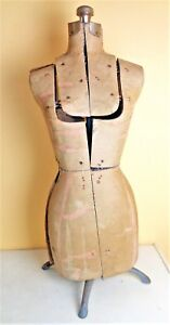 Antique Vintage Primitive Cardboard Cast Iron Mannequin Dress Form Adjustable