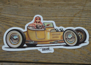 Ford T Roadster Pickup Sticker Hot Rod Keith Weesner Art Decal Pinup Girl Rat