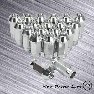 20 Silver Aluminum 50mm Broad Head Lug Nut M12x1 25 For Nissan Subaru Infiniti
