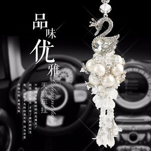 Car Interior Decoration High Grade Crystal Swan Car Hanging Ornament Accessories