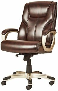 Executive Office Chair Spinning Work Seat Brown High Back Retro Leather Home New