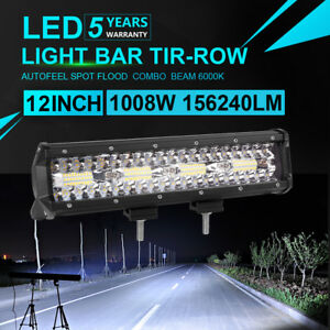 12inch Led Light Bar 1008w Spot Flood Offroad Truck Tractor Jeep Suv Ute 6000k
