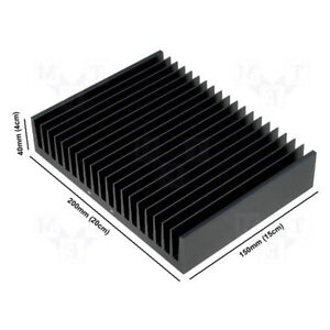 Large Aluminium Anodised Black Led Heatsink 200mm X 150mm X 40mm