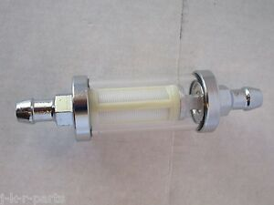 Universal Chrome Glass Fuel Filter 5 16 In Out Chevy Ford Mopar Hot Rod 9247