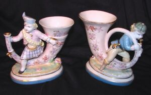 Pair Antique French Porcelain Vases 19th Century