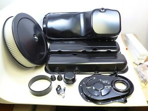 Black Bbc Big Block Chevy Engine Dress Up Kit Oil Pan Aircleaner 396 454 427 402